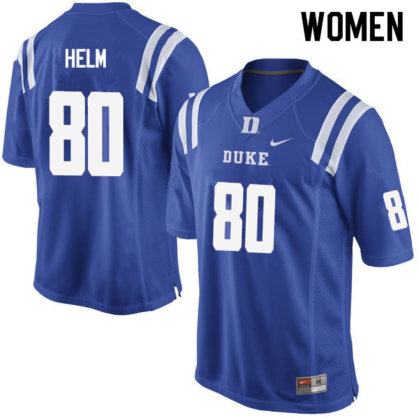 Women #80 Daniel Helm Duke Blue Devils College Football Jerseys Sale-Blue