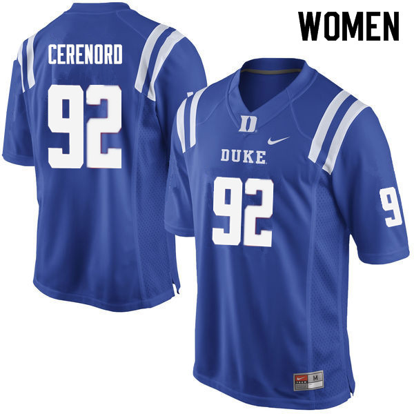 Women #92 Edgar Cerenord Duke Blue Devils College Football Jerseys Sale-Blue