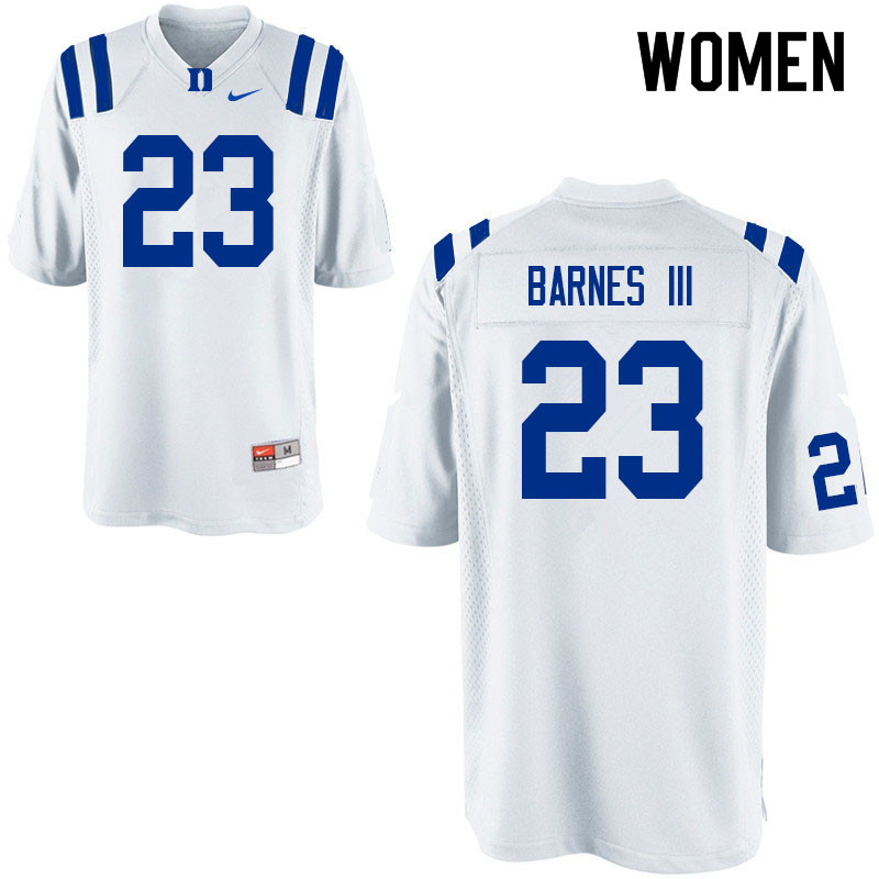 Women #23 Edwin Barnes III Duke Blue Devils College Football Jerseys Sale-White