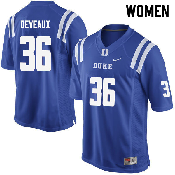 Women #36 Elijah Deveaux Duke Blue Devils College Football Jerseys Sale-Blue