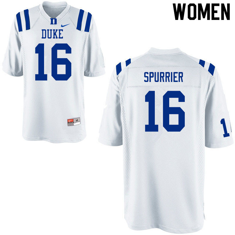 Women #16 Gavin Spurrier Duke White Devils College Football Jerseys Sale-White