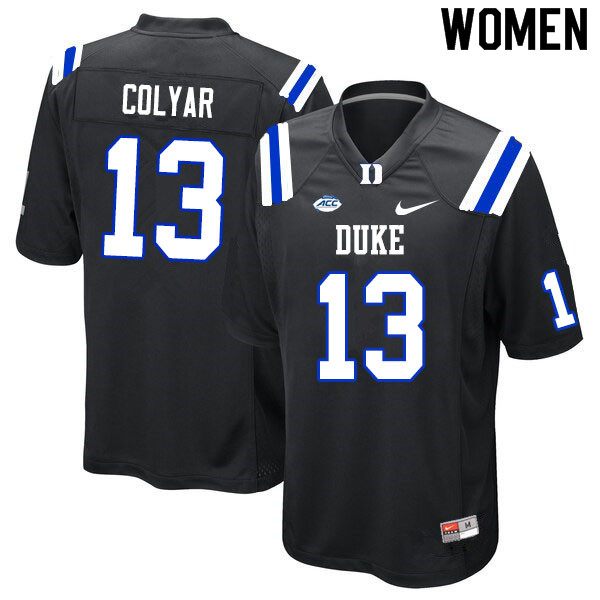Women #13 Jack Colyar Duke Blue Devils College Football Jerseys Sale-Black