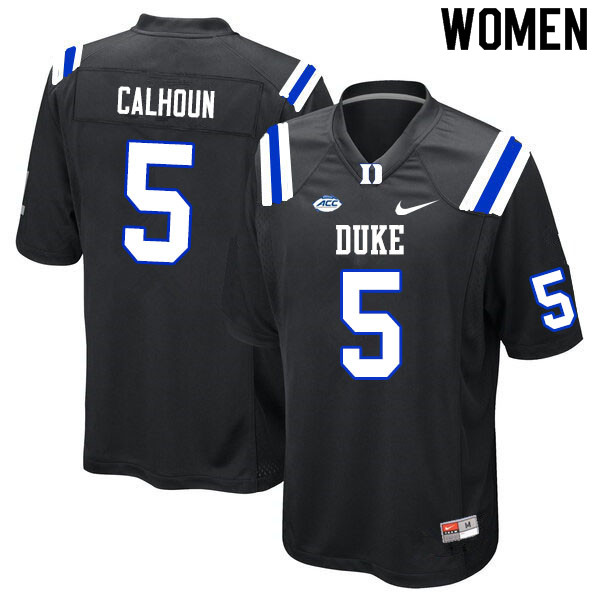 Women #5 Jalon Calhoun Duke Blue Devils College Football Jerseys Sale-Black