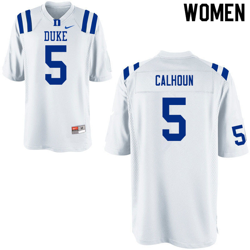 Women #5 Jalon Calhoun Duke White Devils College Football Jerseys Sale-White