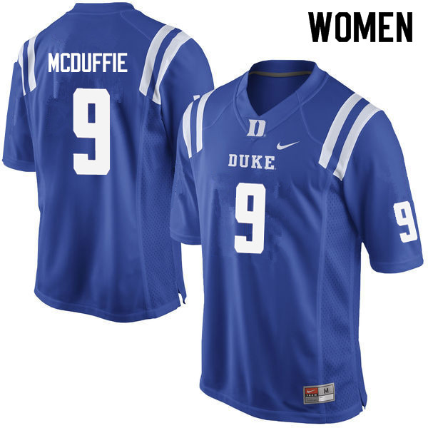 Women #9 Jeremy McDuffie Duke Blue Devils College Football Jerseys Sale-Blue