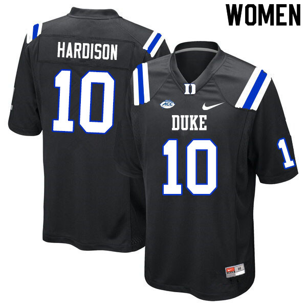 Women #10 Joe Hardison Duke Blue Devils College Football Jerseys Sale-Black
