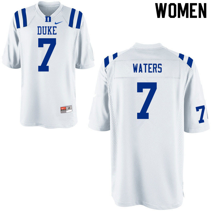 Women #7 Jordan Waters Duke White Devils College Football Jerseys Sale-White