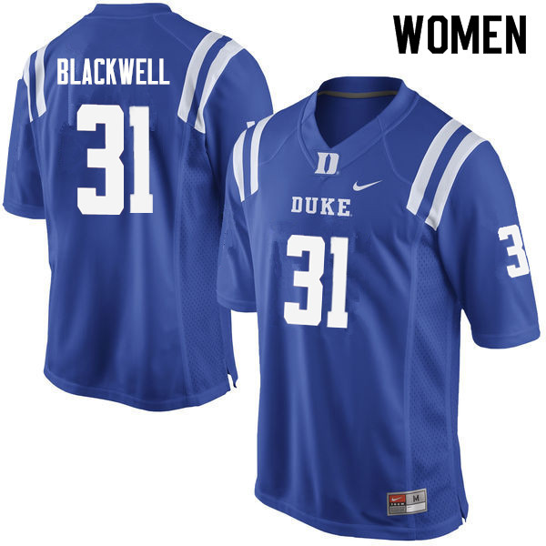 Women #31 Josh Blackwell Duke Blue Devils College Football Jerseys Sale-Blue