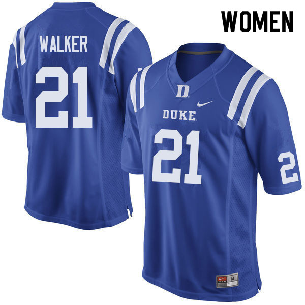 Women #21 Khilan Walker Duke Blue Devils College Football Jerseys Sale-Blue