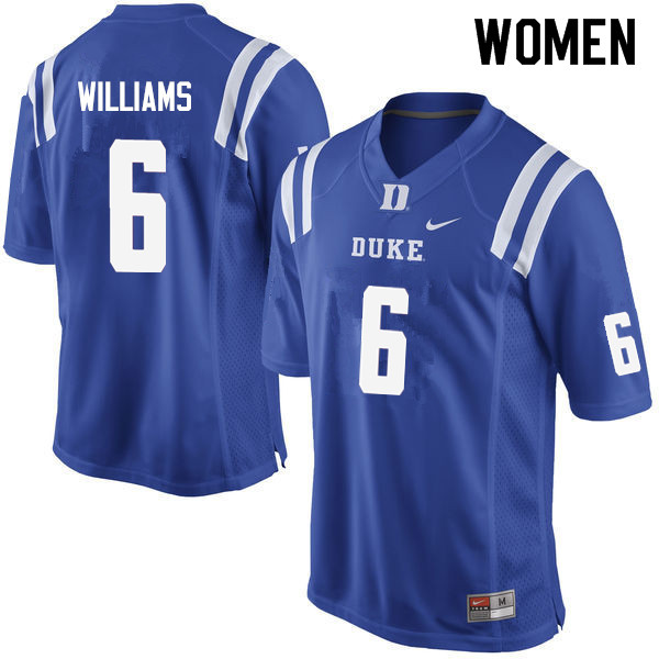 Women #6 Mason Williams Duke Blue Devils College Football Jerseys Sale-Blue