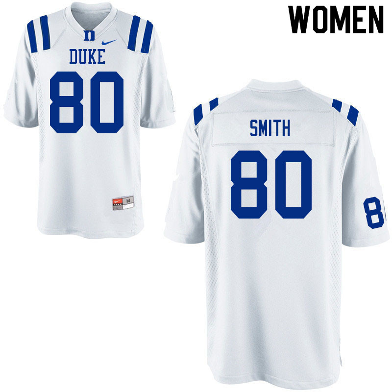 Women #80 Matt Smith Duke White Devils College Football Jerseys Sale-White