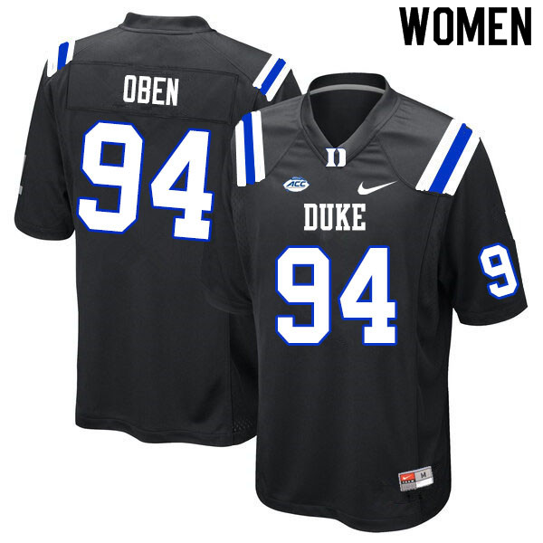 Women #94 R.J. Oben Duke Blue Devils College Football Jerseys Sale-Black