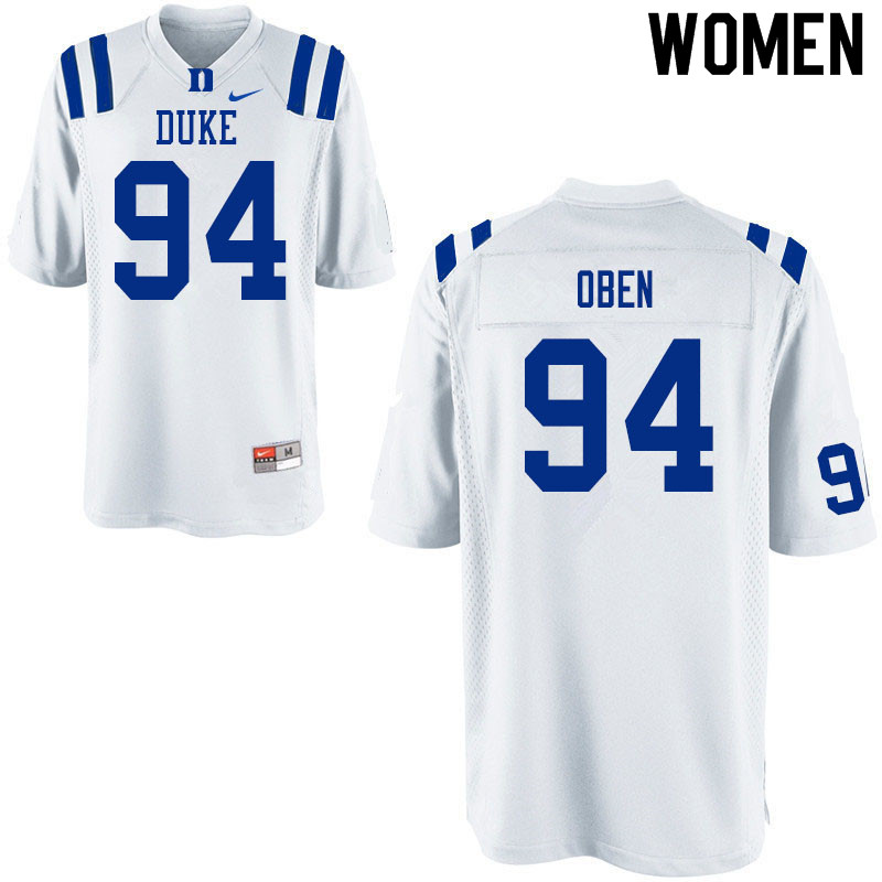 Women #94 R.J. Oben Duke White Devils College Football Jerseys Sale-White
