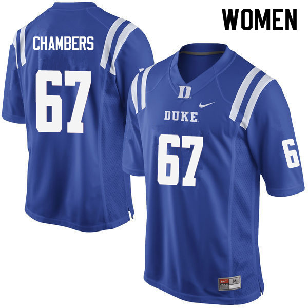 Women #67 Rakavius Chambers Duke Blue Devils College Football Jerseys Sale-Blue