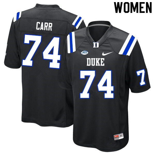 Women #74 Ron Carr Duke Blue Devils College Football Jerseys Sale-Black