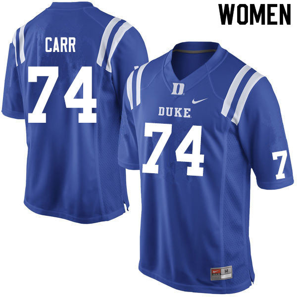Women #74 Ron Carr Duke Blue Devils College Football Jerseys Sale-Blue