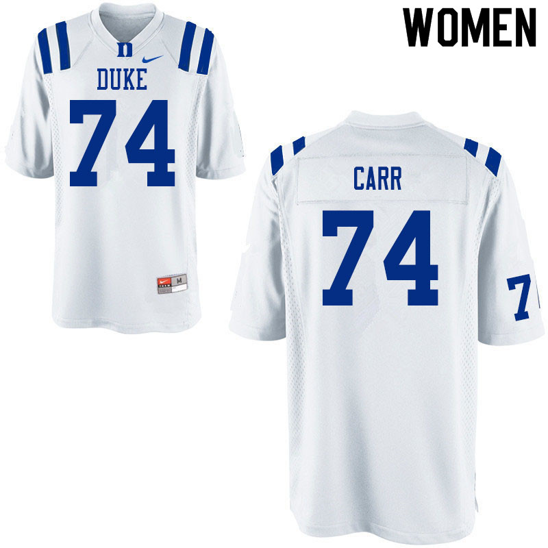 Women #74 Ron Carr Duke White Devils College Football Jerseys Sale-White