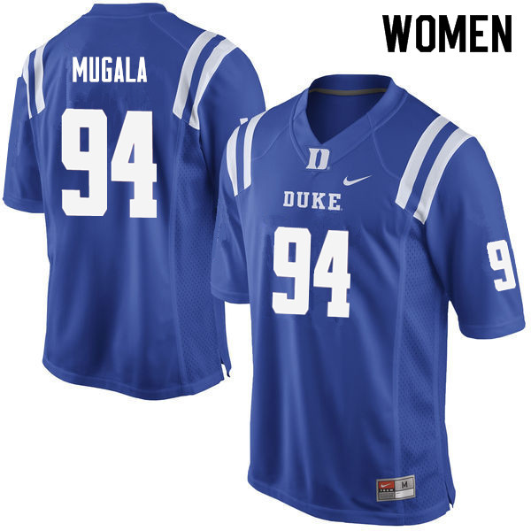 Women #94 Twazanga Mugala Duke Blue Devils College Football Jerseys Sale-Blue