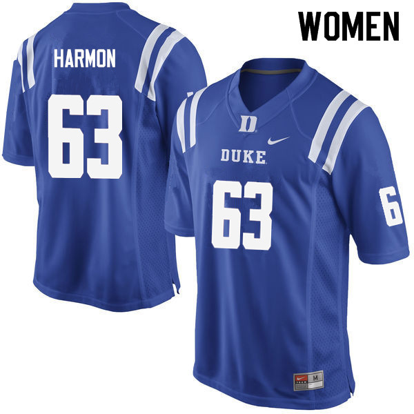 Women #63 Zach Harmon Duke Blue Devils College Football Jerseys Sale-Blue