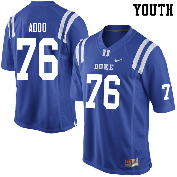 Youth #76 Peace Addo Duke Blue Devils College Football Jerseys Sale-Blue
