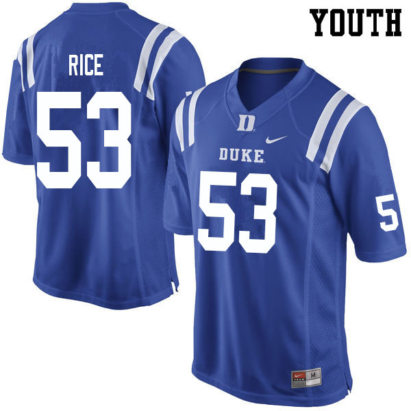 Youth #53 Tahj Rice Duke Blue Devils College Football Jerseys Sale-Blue