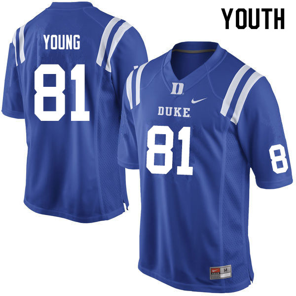 Youth #81 Aaron Young Duke Blue Devils College Football Jerseys Sale-Blue