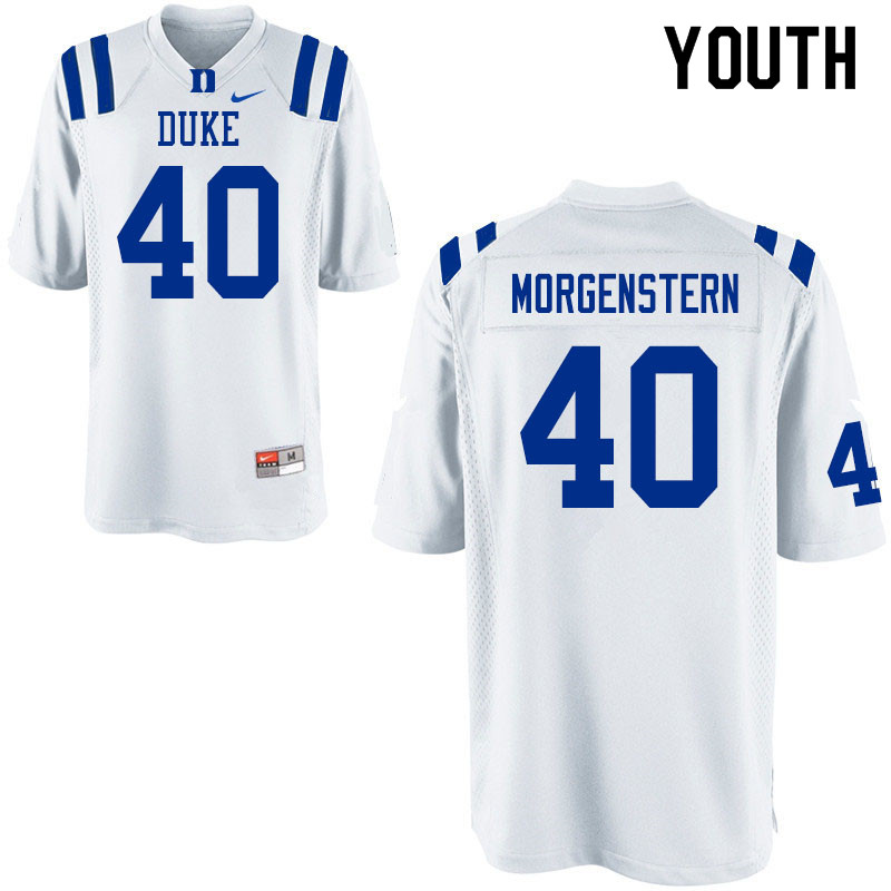 Youth #40 Jacob Morgenstern Duke Blue Devils College Football Jerseys Sale-White