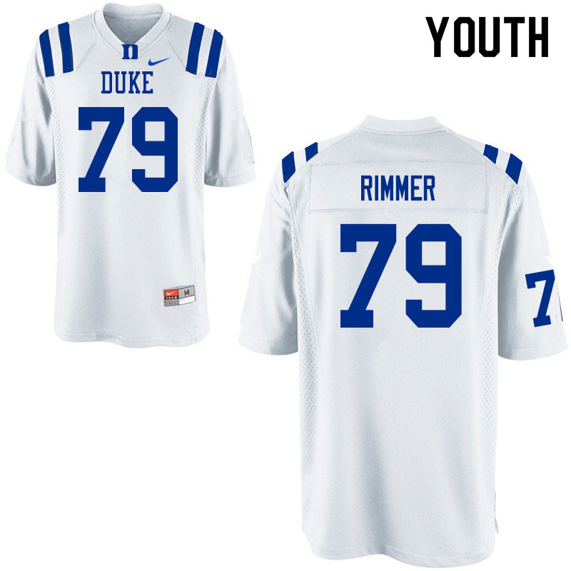 Youth #79 Jacob Rimmer Duke Blue Devils College Football Jerseys Sale-White
