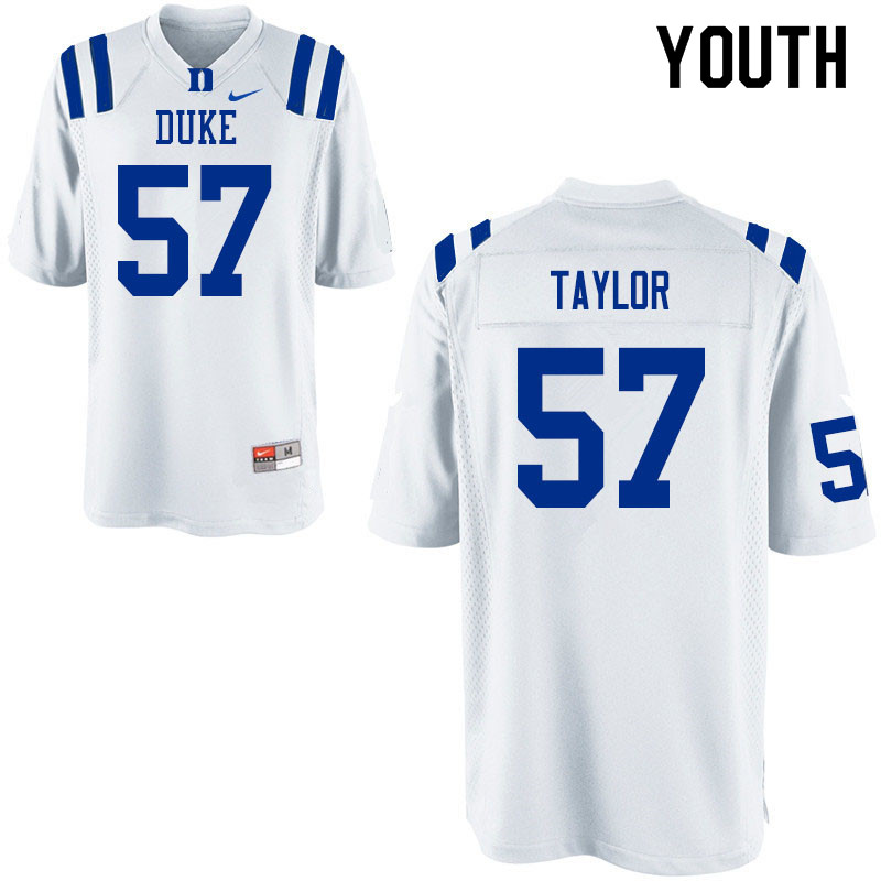 Youth #57 John Taylor Duke Blue Devils College Football Jerseys Sale-White