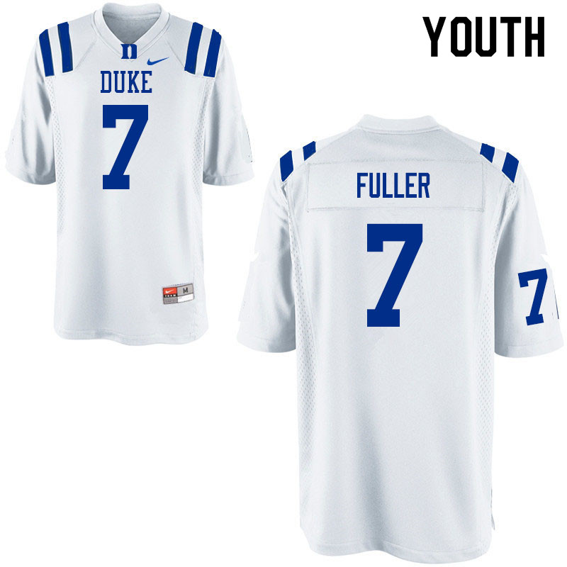 Youth #7 Keyston Fuller Duke Blue Devils College Football Jerseys Sale-White