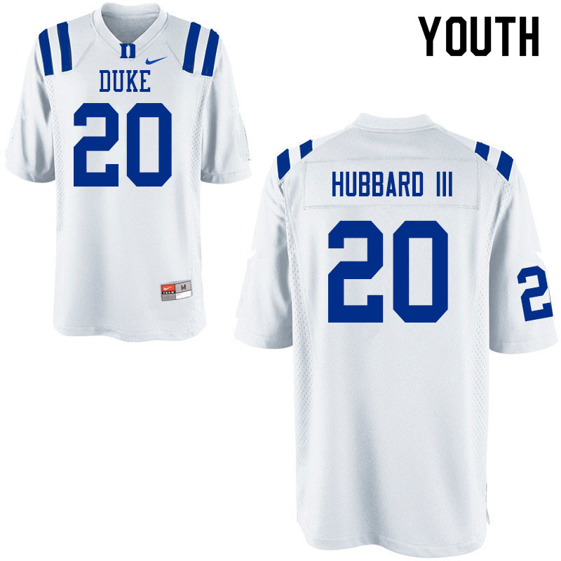 Youth #20 Marvin Hubbard III Duke Blue Devils College Football Jerseys Sale-White