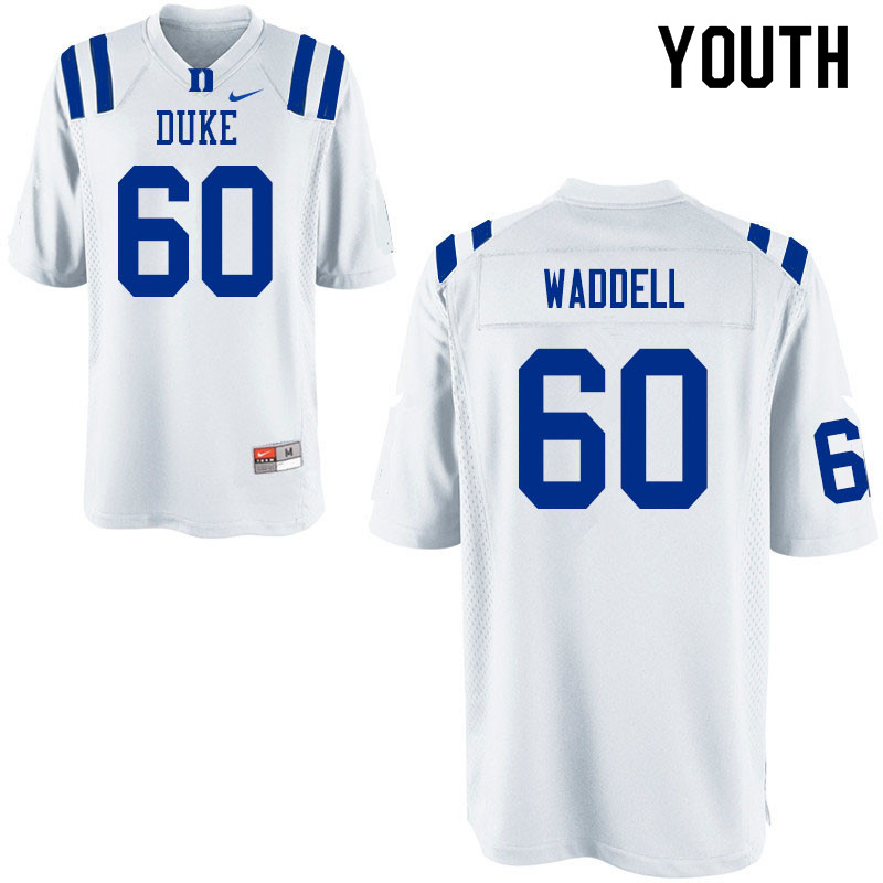 Youth #60 Noah Waddell Duke Blue Devils College Football Jerseys Sale-White