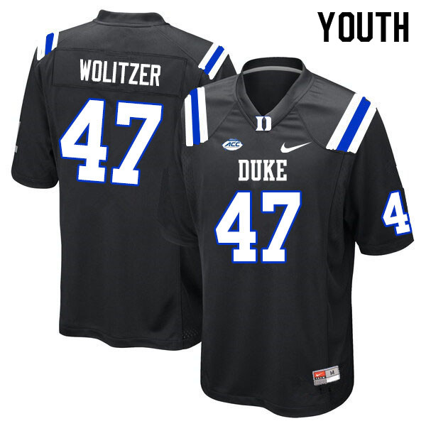 Youth #47 Ryan Wolitzer Duke Blue Devils College Football Jerseys Sale-Black