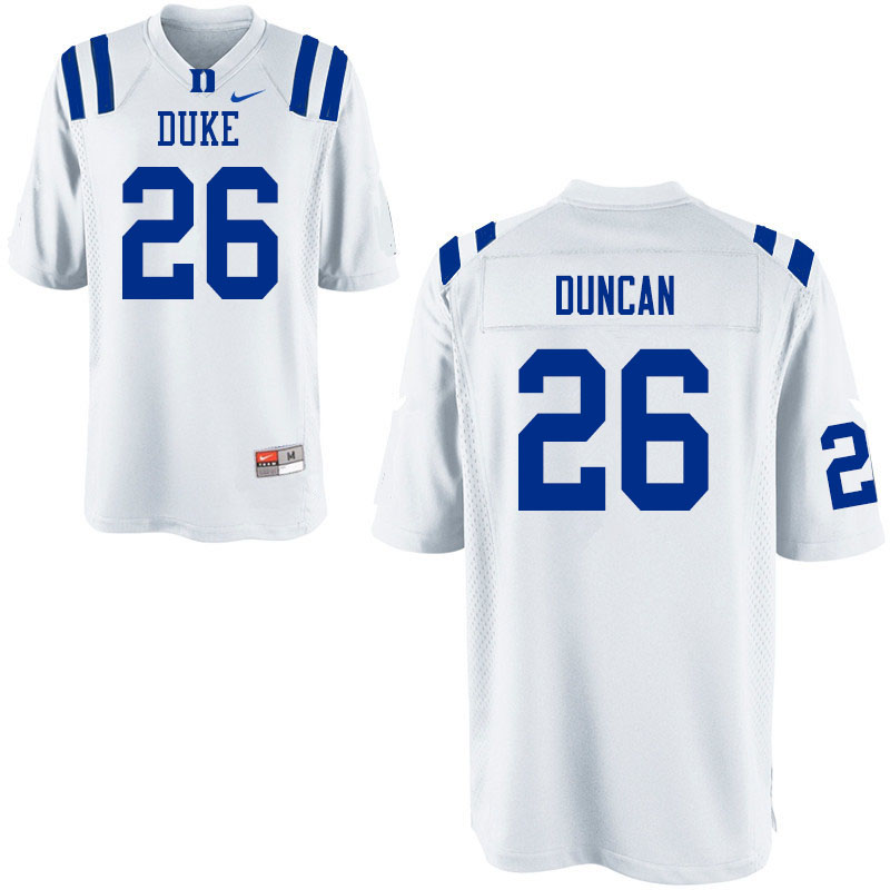 Youth #26 Troy Duncan Duke Blue Devils College Football Jerseys Sale-White