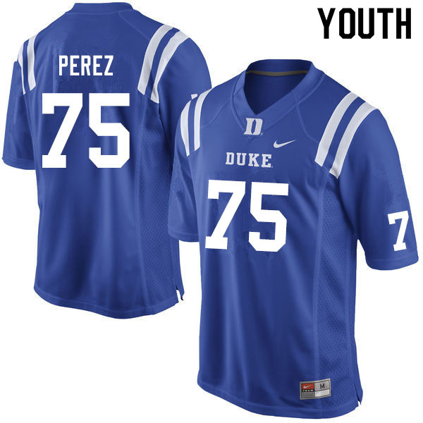 Youth #75 Calib Perez Duke Blue Devils College Football Jerseys Sale-Blue