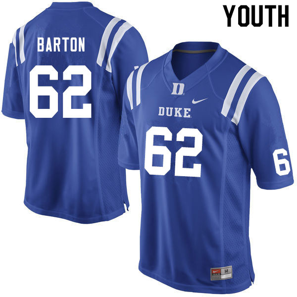 Youth #62 Graham Barton Duke Blue Devils College Football Jerseys Sale-Blue