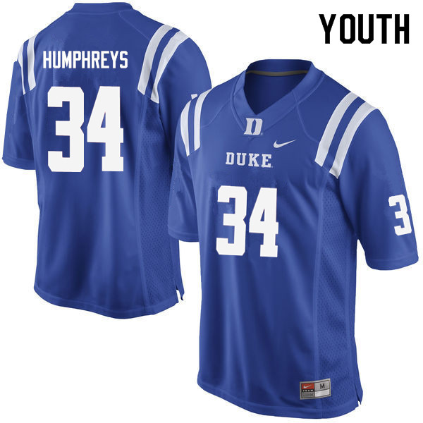 Youth #34 Ben Humphreys Duke Blue Devils College Football Jerseys Sale-Blue