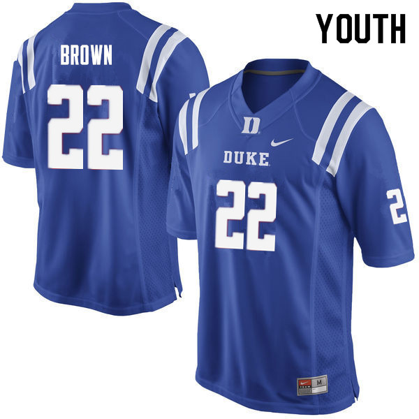Youth #22 Brittain Brown Duke Blue Devils College Football Jerseys Sale-Blue