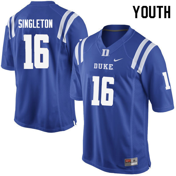 Youth #16 Dylan Singleton Duke Blue Devils College Football Jerseys Sale-Blue