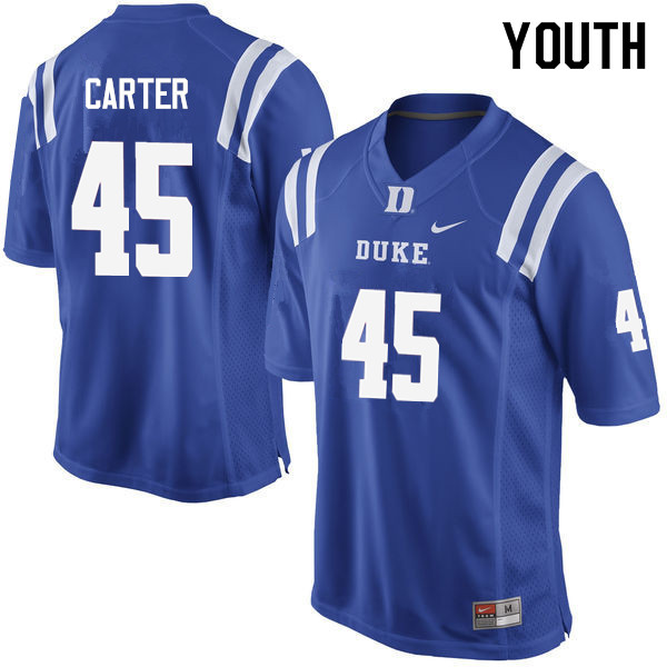 Youth #45 Griffin Carter Duke Blue Devils College Football Jerseys Sale-Blue