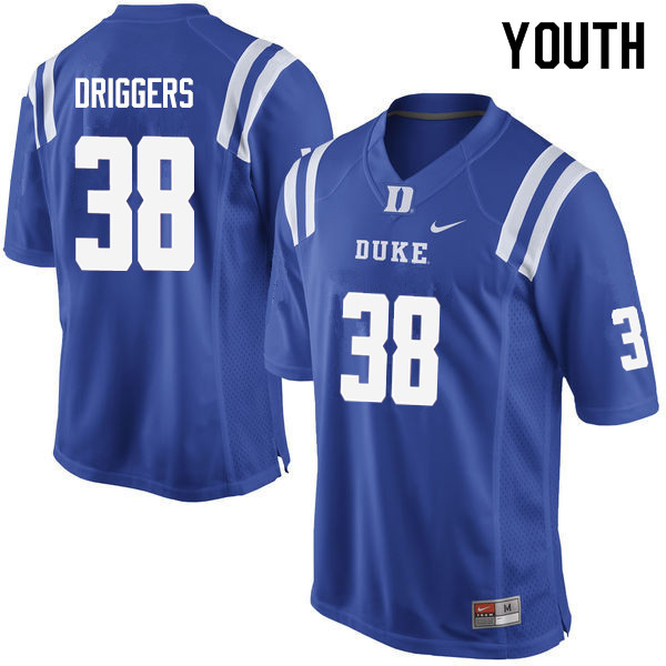 Youth #38 Jack Driggers Duke Blue Devils College Football Jerseys Sale-Blue