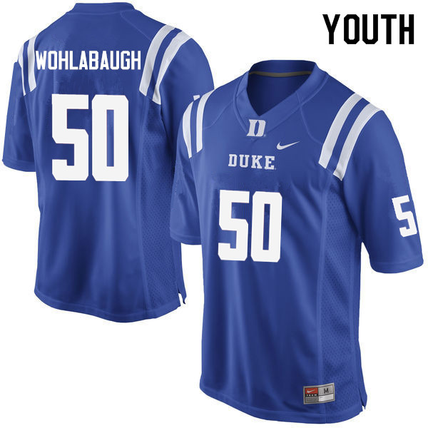 Youth #50 Jack Wohlabaugh Duke Blue Devils College Football Jerseys Sale-Blue