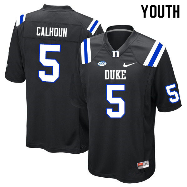 Youth #5 Jalon Calhoun Duke Blue Devils College Football Jerseys Sale-Black