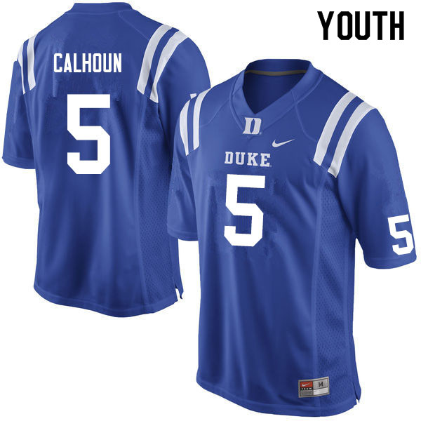 Youth #5 Jalon Calhoun Duke Blue Devils College Football Jerseys Sale-Blue