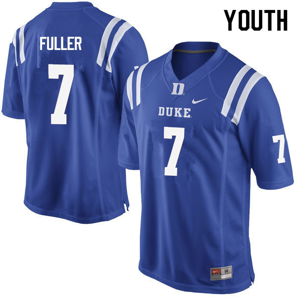 Youth #7 Keyston Fuller Duke Blue Devils College Football Jerseys Sale-Blue