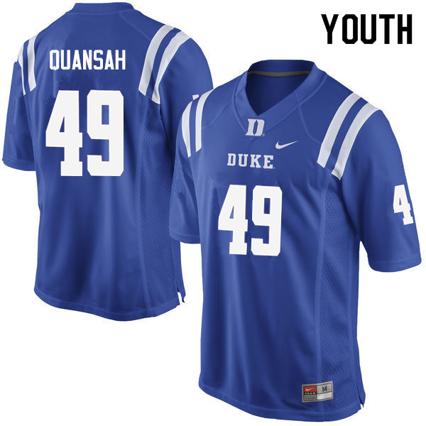 Youth #49 Koby Quansah Duke Blue Devils College Football Jerseys Sale-Blue