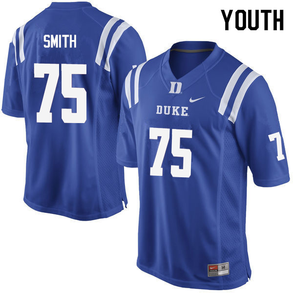 Youth #75 Liam Smith Duke Blue Devils College Football Jerseys Sale-Blue
