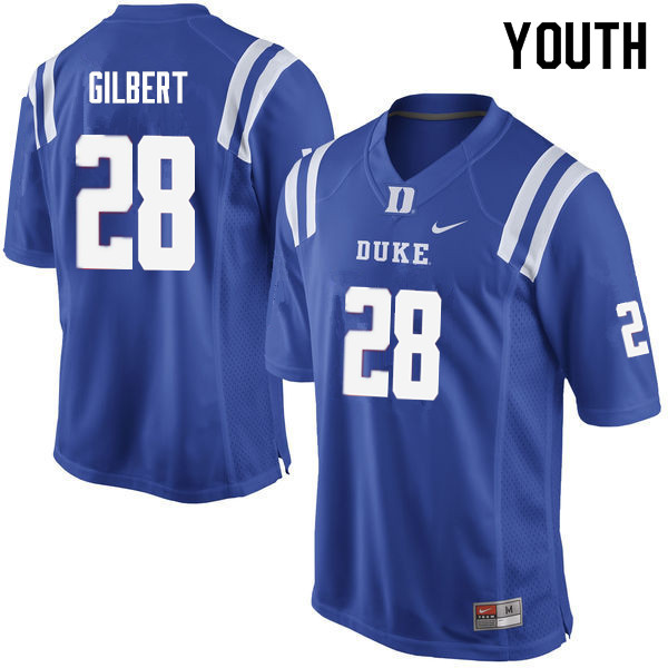 Youth #28 Mark Gilbert Duke Blue Devils College Football Jerseys Sale-Blue