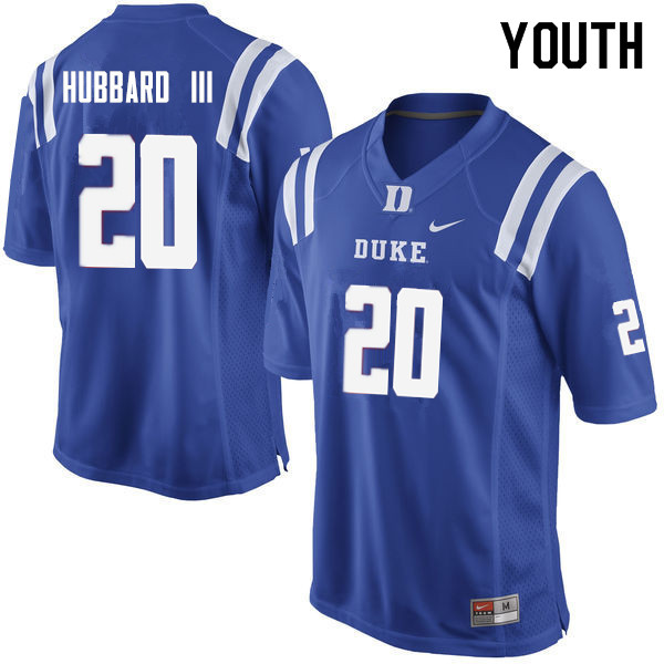 Youth #20 Marvin Hubbard III Duke Blue Devils College Football Jerseys Sale-Blue