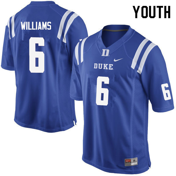 Youth #6 Mason Williams Duke Blue Devils College Football Jerseys Sale-Blue